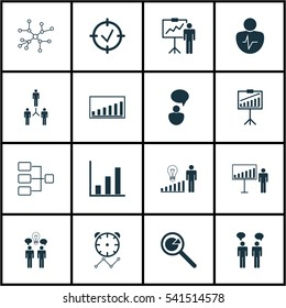 Set Of 16 Executive Icons. Includes Project Analysis, Reminder, Approved Target And Other Symbols. Beautiful Design Elements.
