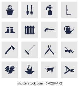 Set Of 16 Farm Icons Set.Collection Of Latex, Scissors, Wheelbarrow And Other Elements.