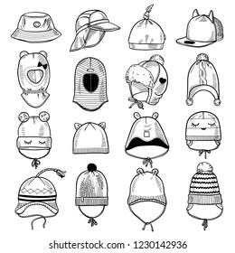 Set of 16 fashion kids caps and hats sketches: knitted hats, hats with a pompom, snap-back cap, beanies with laces, helmet hat, panama etc. Vector ink hand drawn illustration on white background