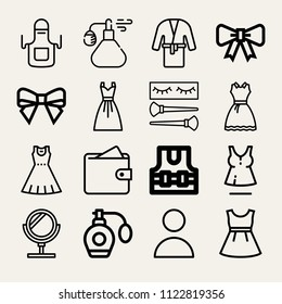 Set of 16 fashion outline icons such as wallet, profile, mirror, perfume, apron, lifejacket, dress, bow, makeup, fragance, ribbon