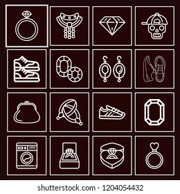 Set of 16 fashion outline icons such as ladies purse, washing machine, necklace, diamond, chains, earrings, sneakers, sneaker, gemstone, engagement ring