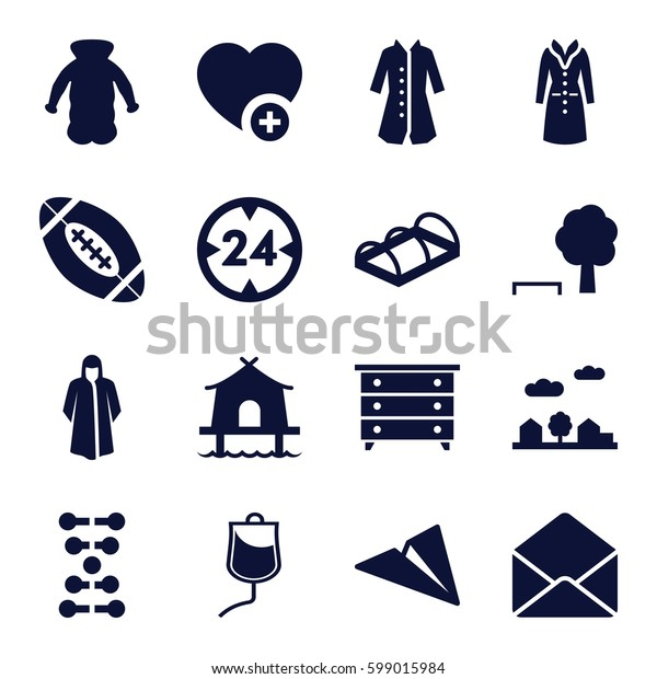 Set of 16   filled icons such as nightstand, overcoat, greenohuse, add favorite, envelope, drop counter, city landscape, american football, tent