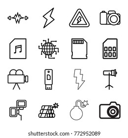 Set of 16 flash outline icons such as cpu planet, electricity, memory card with music, usb drive, camera, studio lapm, camera flash, memory card, voltage warning, flash