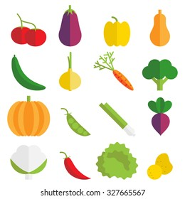 Set of 16 flat colorful vegetable icons.