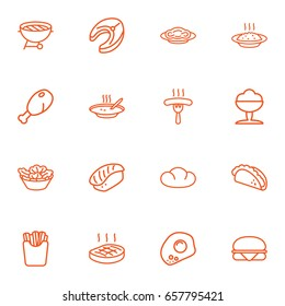 Set Of 16 Food Outline Icons Set.Collection Of Omelette, Japanese Roll, French Fries And Other Elements.