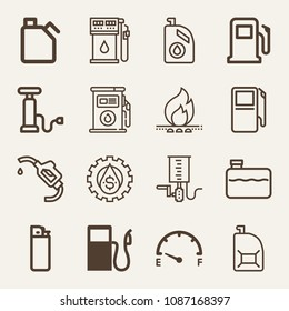 Set of 16 gasoline outline icons such as fuel station pump, pump, tank, gas station, fuel, gas, fossil fuels, oil, gasoline
