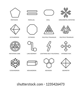 Set Of 16 Geometry linear icons such as Geometry, Hexagon, Pentagon, Icosahedron, Intersection, Lightning bolt polygonal, Line segment, Parallel, editable stroke icon pack, pixel perfect