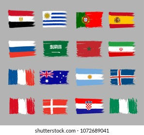 Set of 16 grunge flags for world football championship 2018