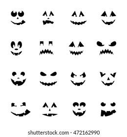 Set of 16 halloween pumpkins, vector illustration
