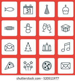 Set Of 16 Happy New Year Icons. Can Be Used For Web, Mobile, UI And Infographic Design. Includes Elements Such As Calendar, Open, Musical And More.