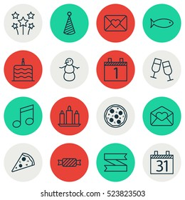 Set Of 16 Happy New Year Icons. Can Be Used For Web, Mobile, UI And Infographic Design. Includes Elements Such As Envelope, Love, Agenda And More.