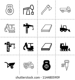 Set of 16 heavy filled and outline icons such as slab, tower crane, excavator, bulldozer, loader truck, whellbarrow, 10 kg bell, axe, construction crane, larry, tipper