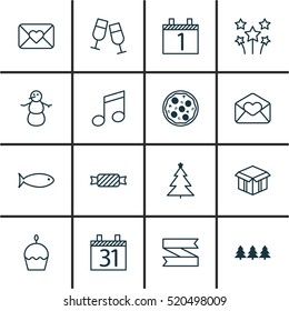 Set Of 16 Holiday Icons. Can Be Used For Web, Mobile, UI And Infographic Design. Includes Elements Such As Glasses, Pizza, Christmas And More.