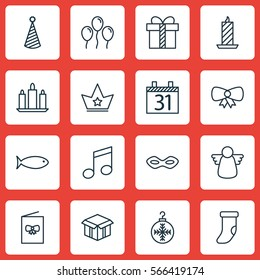 Set Of 16 Holiday Icons. Includes Fire Wax, Open Cardboard, Wax And Other Symbols. Beautiful Design Elements.