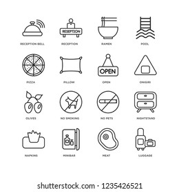 Set Of 16 Hotel and Restaurant linear icons such as Luggage, Meat, Minibar, Napkins, Nightstand, Reception bell, Pizza, Olives, Open, editable stroke icon pack, pixel perfect