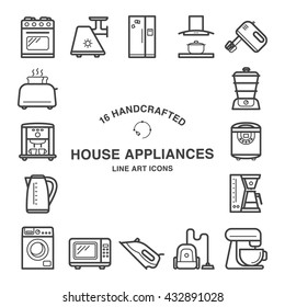 Set of 16  house appliances icons made in line art style.