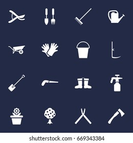 Set Of 16 Household Icons Set.Collection Of Pruner, Bucket, Watering Can And Other Elements.