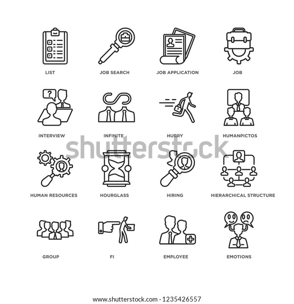 Set 16 Human Resources Linear Icons Stock Vector (Royalty Free