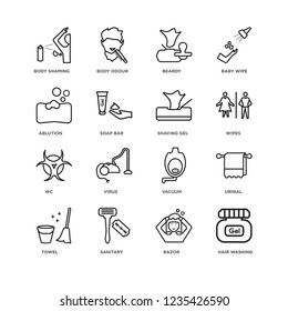 Set Of 16 Hygiene linear icons such as Hair washing, Razor, Sanitary, Towel, Urinal, body shaming, ablution, Wc, shaving gel, editable stroke icon pack, pixel perfect