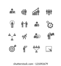 Set of 16 icons of business and management metaphors.