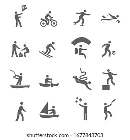 Set of 16 Icons Related to Outdoor Activities Related.