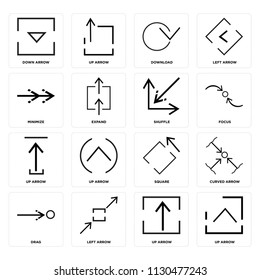 Set Of 16 icons such as Up arrow, Left Drag, Curved Down Minimize, Shuffle, web UI editable icon pack, pixel perfect
