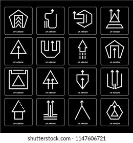 Set Of 16 icons such as Up arrow, web UI editable icon pack, pixel perfect