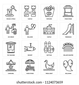 Set Of 16 icons such as Balloons, Pedal boat, Food stand, Carousel, Roller coaster, Whack a mole, Ice cream, Toy Machine, Castle, web UI editable icon pack, pixel perfect