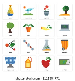 Set Of 16 icons such as Battery, Apple, Tag, Solar panel, Garbage, Flask, Tree, Share, Sprout, web UI editable icon pack, pixel perfect