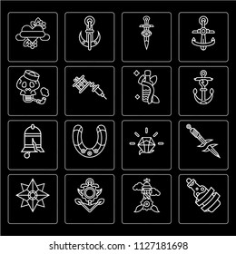 Set Of 16 icons such as Bottle, Lighthouse, Anchor, Star, Dagger, Heart, Sailor Skull, Bell, web UI editable icon pack, pixel perfect