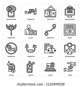 Set Of 16 icons such as Bribe, Laptop, Growth, Invoice, Online banking, Corruption, Handcuffs, web UI editable icon pack, pixel perfect