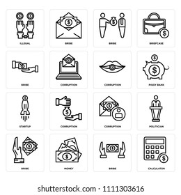 Set Of 16 icons such as Calculator, Bribe, Money, Politician, Illegal, Startup, Corruption, web UI editable icon pack, pixel perfect