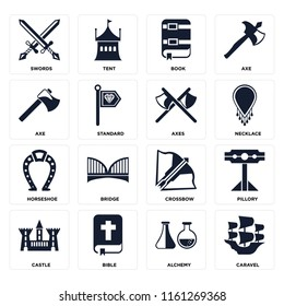 Set Of 16 icons such as Caravel, Alchemy, Bible, Castle, Pillory, Swords, Axe, Horseshoe, Axes, web UI editable icon pack, pixel perfect