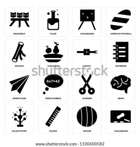 Set Of 16 Icons Such As Chalkboard Soccer Rulers Solar System Brain