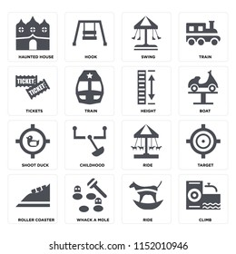 Set Of 16 icons such as Climb, Ride, Whack a mole, Roller coaster, Target, Haunted house, Tickets, Shoot duck, Height on transparent background, pixel perfect