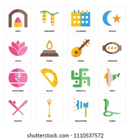 Set Of 16 icons such as Cobra, Megaphone, Trisul, Cricket, India, Arch, Lotus, Nakatheng, Veena, web UI editable icon pack, pixel perfect