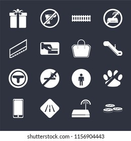 Set Of 16 icons such as Coins, Wifi, Road, Smarthphone, No pets, Gift, Stairs, Junction, Tote bag on black background, web UI editable icon pack