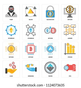 Set Of 16 icons such as Cpu, Waves, Spending, Cash, Stocks, Thief, Ethereum, Bitcoin, web UI editable icon pack, pixel perfect