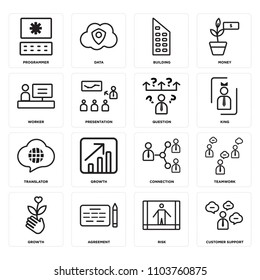 Set Of 16 icons such as Customer support, Risk, Agreement, Growth, Teamwork, Programmer, Worker, Translator, Question, web UI editable icon pack, pixel perfect