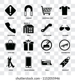 Set Of 16 icons such as Discount, Mall, Smarthphone, Dress, Skateboard, Warning, Telephone, Tote bag, Escalator on transparent background, pixel perfect