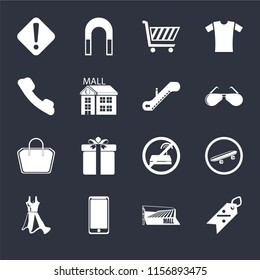 Set Of 16 icons such as Discount, Mall, Smarthphone, Dress, Skateboard, Warning, Telephone, Tote bag, Escalator on black background, web UI editable icon pack