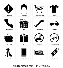 Set Of 16 icons such as Discount, Mall, Smarthphone, Dress, Skateboard, Warning, Telephone, Tote bag, Escalator, web UI editable icon pack, pixel perfect