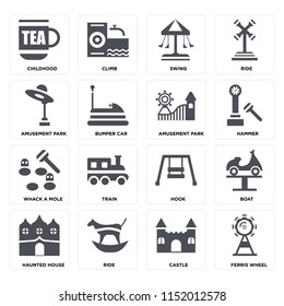 Set Of 16 icons such as Ferris wheel, Castle, Ride, Haunted house, Boat, Childhood, Amusement park, Whack a mole on transparent background, pixel perfect