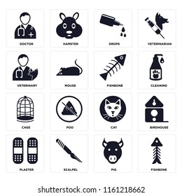 Set Of 16 icons such as Fishbone, Pig, Scalpel, Plaster, Birdhouse, Doctor, Veterinary, Cage, web UI editable icon pack, pixel perfect