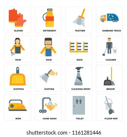 Set Of 16 icons such as Floor mop, Toilet, Hand wash, Iron, Broom, Gloves, Maid, Dustpan, Rack, web UI editable icon pack, pixel perfect