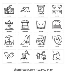 Set Of 16 icons such as Game, Ice cream, Whack a mole, Ghost, Castle, Carousel, Dinner Table, Catapult, web UI editable icon pack, pixel perfect