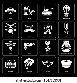 Set Of 16 icons such as Hat, Badge, Acid rain, Bullets, Bulletproof vest, Helicopter, Medal, Electric tower, web UI editable icon pack, pixel perfect