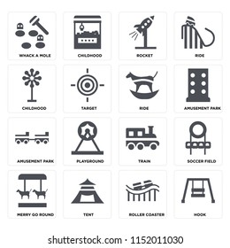 Set Of 16 icons such as Hook, Roller coaster, Tent, Merry go round, Soccer field, Whack a mole, Childhood, Amusement park, Ride on transparent background, pixel perfect