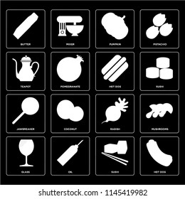 Set Of 16 icons such as Hot dog, Sushi, Oil, Glass, Mushrooms, Butter, Teapot, Jawbreaker, web UI editable icon pack, pixel perfect