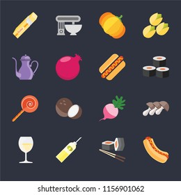 Set Of 16 icons such as Hot dog, Sushi, Oil, Glass, Mushrooms, Butter, Teapot, Jawbreaker, dog on black background, web UI editable icon pack